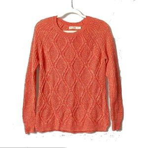 Faded Glory | Coral Crewneck Cable-Knit Sweater |S